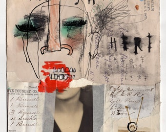 Here - Original Mixed Media Illustration / Collage
