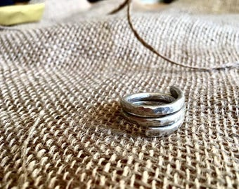 Hand forged sterling silver winding ring