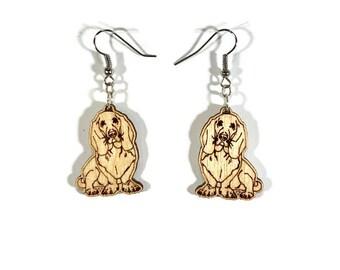 Basset Earrings dog wood wooden gift for her jewelry hound dog earrings basset earrings dog earrings wooden earrings hound earrings