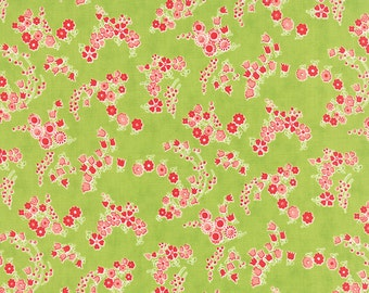 LITTLE RUBY  by the half yard Moda cotton quilt fabric Bonnie & Camille-55136-14 red pink tiny flowers on green