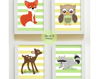 Raccoon, Deer, Fox, Owl Woodland Nursery Art for Baby Boy , Kids Room Nursery Decor, Set of 4 Room Decor - Woodland Forest Animals