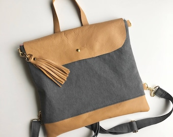 SALE! Convertible crossbody backpack with leather and gray denim