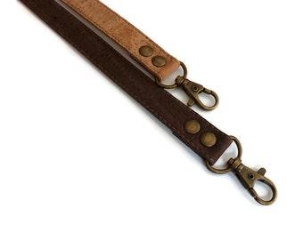 1 Genuine leather brown cork handbag handles,bag strap,purse strap,120 cm hook antique brass
