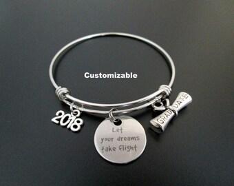 Graduation Bracelet / Class of 2018 / Let Your Dreams Take Fligth / Graduation Bangle  / Graduation Gift / Adjustable Charm Bracelet /