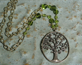 Tree of Life Necklace, Bronze Charm, Detailed Tree of Life Charm, Rosary Beads, Eclectic Style, Assemblage, Beautiful Gift By UPcycled Works