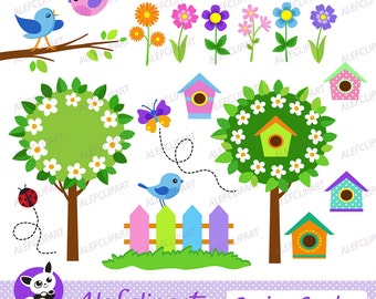 50% OFF SALE Clipart  Spring Garden. Digital Clipart. Creative Clips. Instant Download