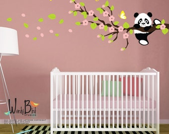 Cherry Blossom Wall Decal, Panda Wall Decal, Panda Bear, reusable kids wall decals, nursery mural - WB551