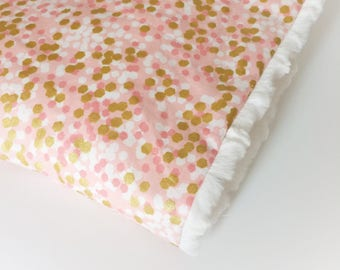 Baby GIRLS Blanket - Gold Pink Blanket / Baby Shower Gift / Minky Blanket / Baby Girl Nursery Blanket -READY to Ship