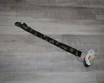 Pacifier Clip, Dark Cammo, Personalization Available, Ready to Ship