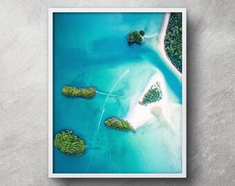 Aerial beach photography, Printable art, Beach print, Tropical print, Beach wall art, Beach artwork, Nautical decor, Coastal decor, Wall art