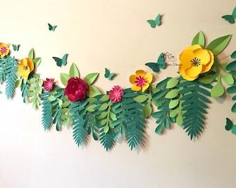 Paper flower GARLAND cake smash nursery/Paper flower wall/Wedding Backdrop/Bridal Baby shower/Nursery decor/Christening/Sweet 16/Holy commun