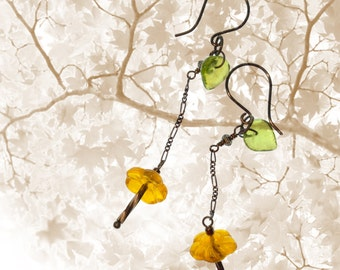 Buttercup Trickle Long Dangle Earrings OOAK Nature Inspired Autumn Colors Handmade Jewelry gift for her