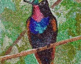 Glitter Painting - Garnet-Throated Hummingbird