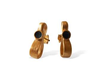Handmade Silver Earrings for Women, Elegant Gold Earrings for Her, Infinity, Minimal Design Earring, Special Gift for Her, Porpe Artifacts