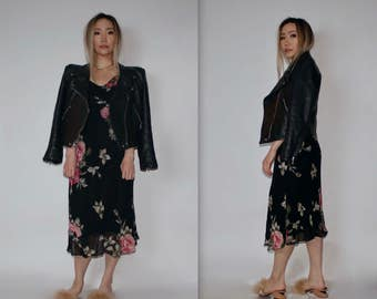"1990's Vintage ""Paradise East"" Long Garden Party Black Pink Floral Maxi Dress V Neck With Flow Cap Boho Sleeves Size M"