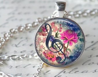 MUSICAL Pendant Necklace G CLEF Necklace Pendant Vintage Floral Music Note Glass Pendant Handmade gifts for Musicians Floral Blues Music