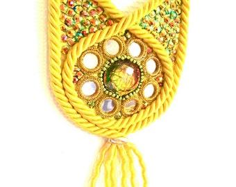Statement boho necklace / Yellow boho jewelry / Ethnic statement necklace  / Oversize statement necklace / Mirror necklace/ Textile necklace