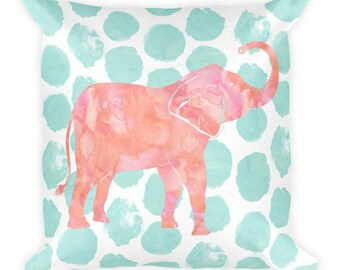 """Coral Pink and Mint Green Elephant Throw Pillow - 18""""x18"""" cushion with polyester insert, watercolor dots, watercolor elephant"""