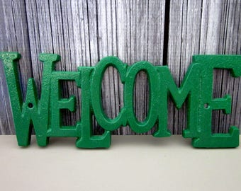 Welcome Sign, Cast Iron, Hunter Green, Plaque, Door Sign, Painted, House Sign, Metal Welcome Sign, Indoor, Outdoor, Cast Iron Wall Decor