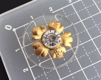 authentic CHANEL flower crystal button