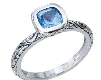 Sparking Topaz Engraved Bali Filigree Sterling Silver 925 Ring Gemstone Jewelry Shimmering Gem Stock size 8 but other available on request