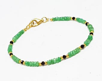 Zambian emerald Gemstone Bracelet and Black Spinell, Minimal Bracelet 925 sterling silver bracelet, gold vermeil
