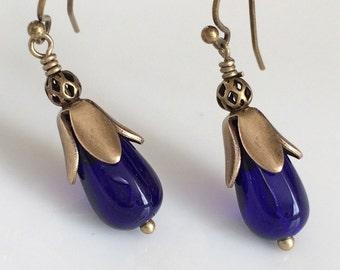 Cobalt Blue Glass Earrings   Bohemian Earrings  Glass Teardrop Earrings  Small Dangle Earrings   Boho  Brass Earrings  Gypsy Dangles