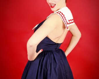 Pin Up Sailor Pinup Nautical Halter Swing Dress Custom Size including Plus Sizes Navy Blue White Red Fourth of July