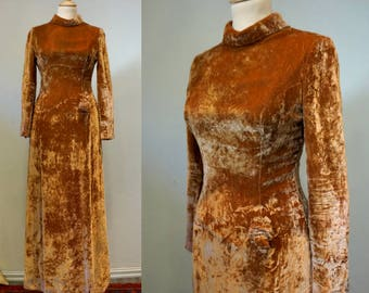 1930s Dark Honey Velvet Gown
