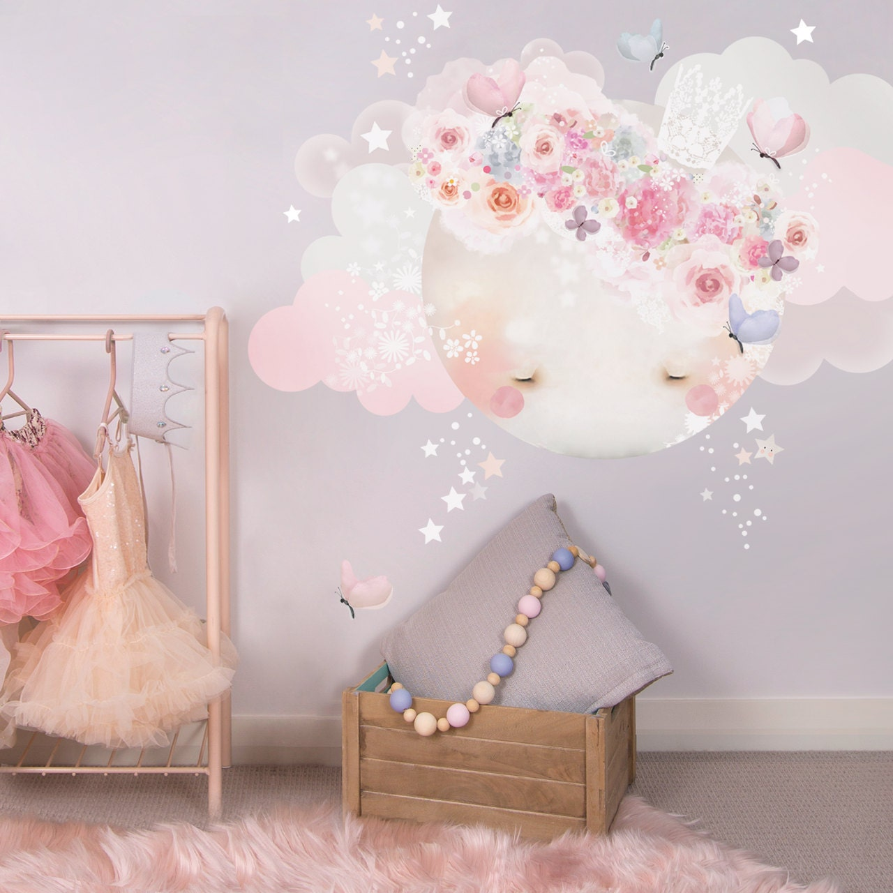 ?zoom & Sleepy Moon Fabric Decal Wall Stickers Pretty floral girls