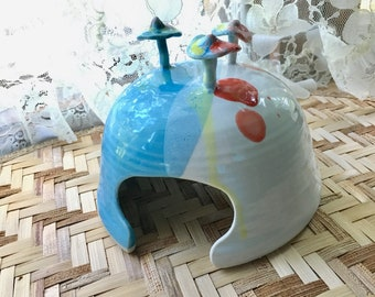 Toad House in Turquoise Blue, White & Green Porcelain