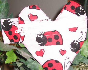 Heart shap Coin Purse - Little coin bag with Lady Bug Print