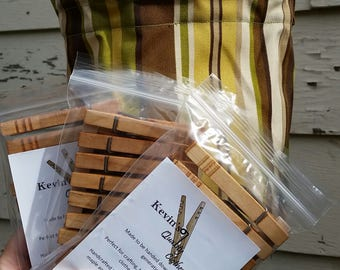 Clothesline Bag and 3 sets of Kevin's Quality Clothespins, Peg Bag, Clothespin holder,Peg Bag holder,laundry supplies, hanging bag, off-grid