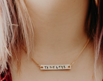 Timeless Necklace - Word Necklace - Personalized Necklace - Bar Necklace - Rose Gold Bar - Gold Bar - Silver Bar - Minimal Necklace