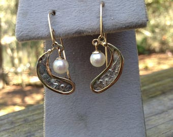 Complete and ready to ship 14k Atocha Fragment Earrings w/ Cultured Pearl Dangles