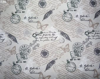 Fabric C536 clocks and feathers on gray coupon 35x50cm