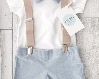 Baby boys outfit with blue bowtie, matching shorts/pants and tan children's suspenders and optional matching bunny