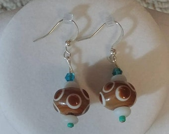 SALE Brown And White Polka-Dotted Earrings