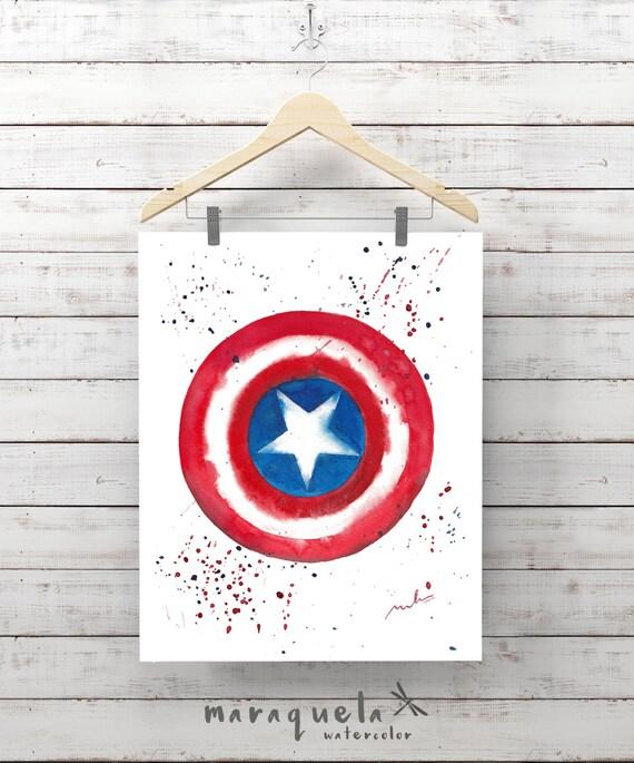 Original Captain America Shield Captain America Art Watercolor Painting - Art Boys Decor Kids Wall Art Avengers Marvel avengers,gift for him