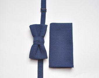 Bow tie & Pocket Square in Navy Blue. Groom's Set