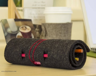 Wool Felt Pencil Case Roll