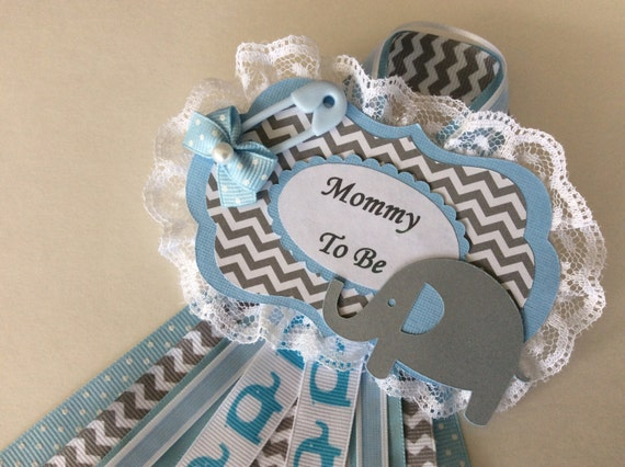 Boy Baby Shower Corsage/Elephant Baby Shower Corsage/Blue And