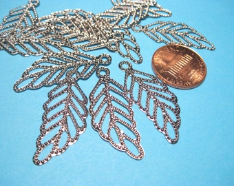 Silver Tone Filigree Leaf Charms Pendants 32mm
