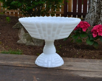 Vintage Milk Glass Pedestal Bowl - Jeannette - Fruit Bowl