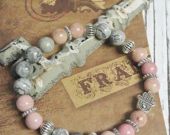 Rhodonite and Fancy Jasper Stone Bracelet, Meditation, Stackable, Stretch Bracelet, Boho, Natural Stone, Hamsa Hand Charm