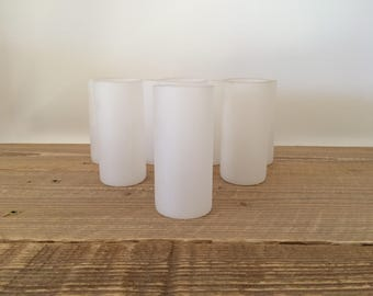 Vintage Set of 8 Frosted White Glass Shooters