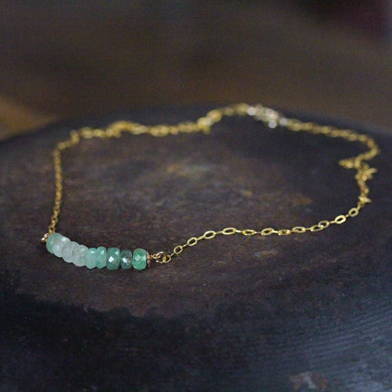 Emerald Bar Necklace - May Birthstone Necklace