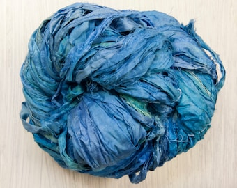 Sari Silk Ribbon in River Blue Kettle dyed Worm Goo by Pen and Hook in 4 sizes of skeins