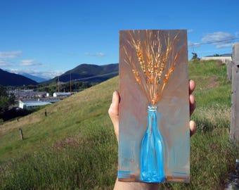 "Blue Bottle Vase, original oil painting miniature oil painting, 8.5x4"" x .25"" thick"
