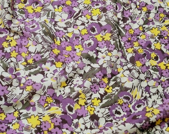 "Purple floral print silk cotton fabric 54"" wide sell by meter apparel sewing fabric"